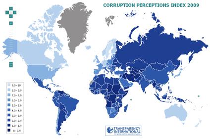 Carte corruption 2009