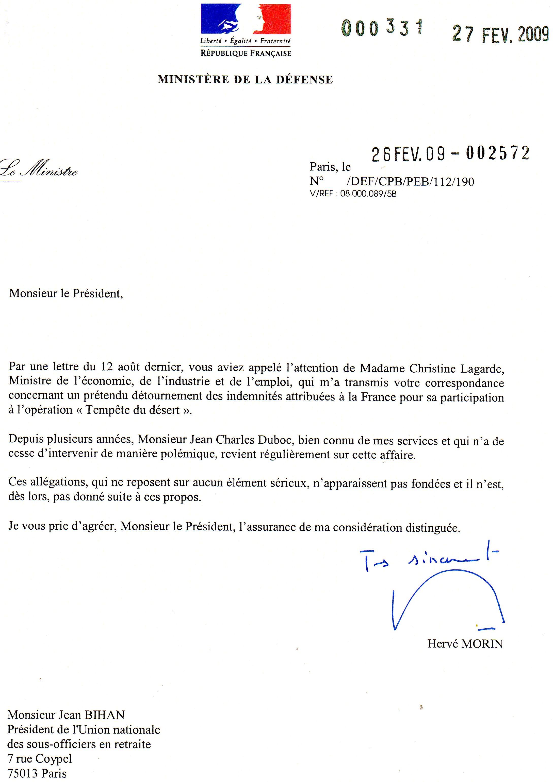 Modele lettre militaire nouvelle affectation document online - Porter plainte aupres du procureur de la republique ...