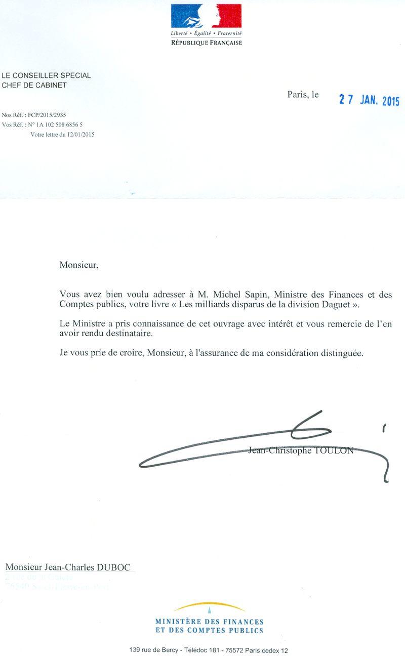 Réponse Michel SAPIN 27 janvier 20150001
