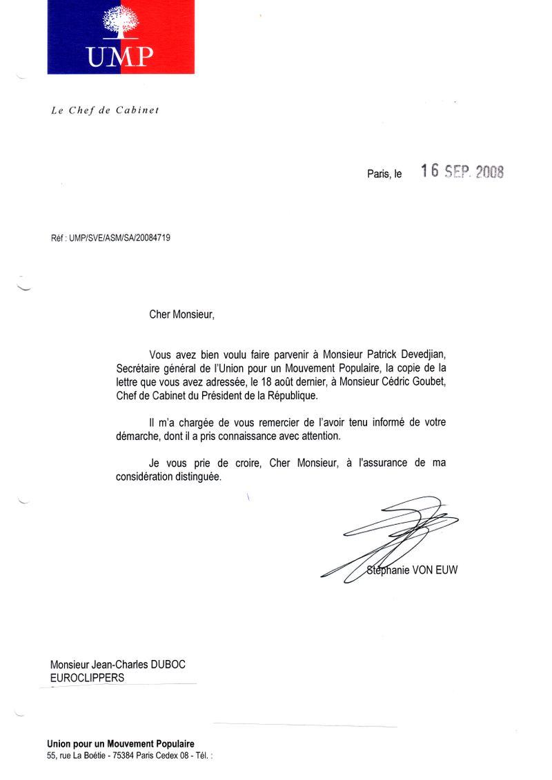 lettre de demission militaire Alerte éthique: Réponses de l'UMP et du ministère de l'Economie lettre de demission militaire